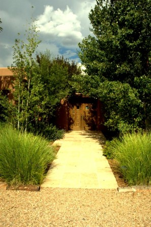 flagstone pavers, grasses, ornamental grasses, aspens, front entry,blue sky,