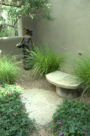 bench, garden bench, garden sculpture, grasses, female sculpture