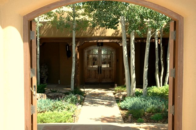 flagstone path, junipers, aspen trees, front entry garden, simple plants