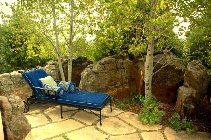 secret garden, secluded garden, boulders, aspen trees, cool spaces, relaxing spaces